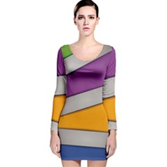Colorful Geometry Shapes Line Green Grey Pirple Yellow Blue Long Sleeve Velvet Bodycon Dress