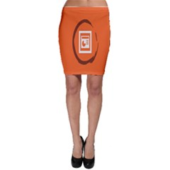 Circles Orange Bodycon Skirt