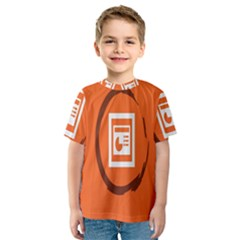 Circles Orange Kids  Sport Mesh Tee