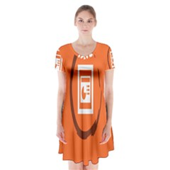 Circles Orange Short Sleeve V-neck Flare Dress