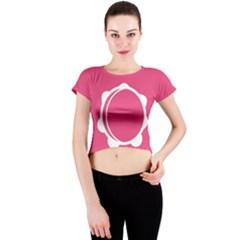 Circle White Pink Crew Neck Crop Top