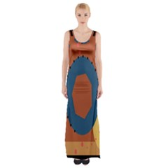 Digital Music Is Described Sound Waves Maxi Thigh Split Dress