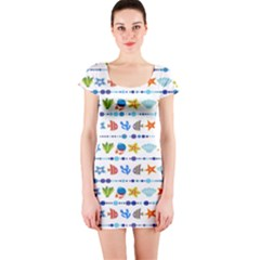 Coral Reef Fish Coral Star Short Sleeve Bodycon Dress