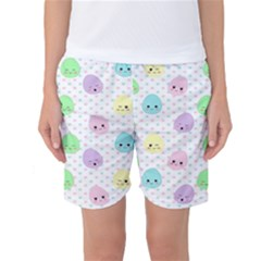 Egg Easter Smile Face Cute Babby Kids Dot Polka Rainbow Women s Basketball Shorts