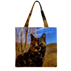 Adult Wild Cat Sitting and Watching Grocery Tote Bag