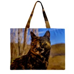 Adult Wild Cat Sitting and Watching Zipper Mini Tote Bag