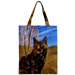 Adult Wild Cat Sitting and Watching Zipper Classic Tote Bag