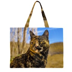 Adult Wild Cat Sitting and Watching Zipper Large Tote Bag