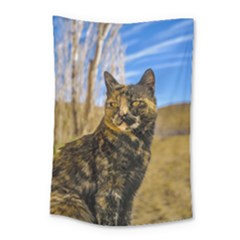 Adult Wild Cat Sitting And Watching Small Tapestry
