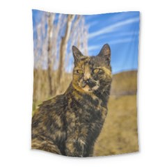 Adult Wild Cat Sitting and Watching Medium Tapestry