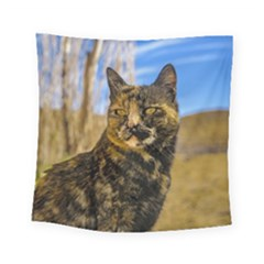 Adult Wild Cat Sitting and Watching Square Tapestry (Small)