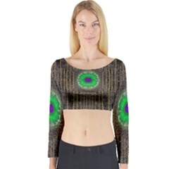 In The Stars And Pearls Is A Flower Long Sleeve Crop Top
