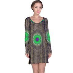 In The Stars And Pearls Is A Flower Long Sleeve Nightdress