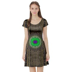 In The Stars And Pearls Is A Flower Short Sleeve Skater Dress
