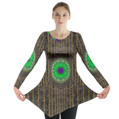 In The Stars And Pearls Is A Flower Long Sleeve Tunic