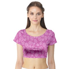 Floral pattern Short Sleeve Crop Top (Tight Fit)