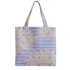 Flower Floral Sunflower Line Horizontal Pink White Blue Zipper Grocery Tote Bag