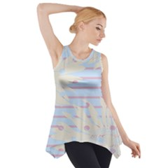 Flower Floral Sunflower Line Horizontal Pink White Blue Side Drop Tank Tunic