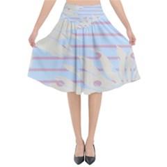 Flower Floral Sunflower Line Horizontal Pink White Blue Flared Midi Skirt