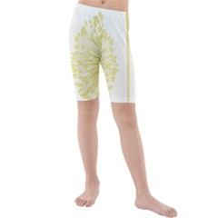 Flower Floral Yellow Kids  Mid Length Swim Shorts