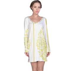 Flower Floral Yellow Long Sleeve Nightdress