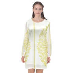 Flower Floral Yellow Long Sleeve Chiffon Shift Dress