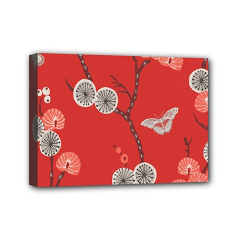 Dandelions Red Butterfly Flower Floral Mini Canvas 7  x 5
