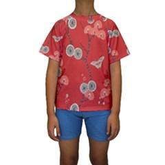 Dandelions Red Butterfly Flower Floral Kids  Short Sleeve Swimwear