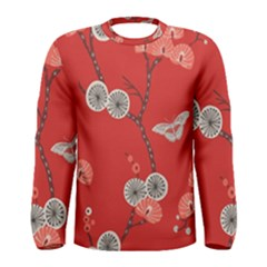 Dandelions Red Butterfly Flower Floral Men s Long Sleeve Tee