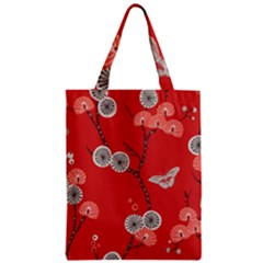Dandelions Red Butterfly Flower Floral Zipper Classic Tote Bag