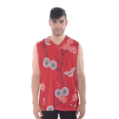 Dandelions Red Butterfly Flower Floral Men s Basketball Tank Top