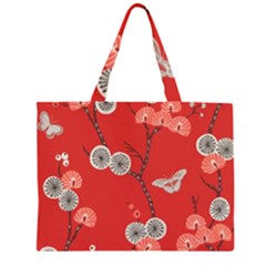 Dandelions Red Butterfly Flower Floral Zipper Large Tote Bag