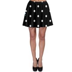 Flower Frame Floral Polkadot White Black Skater Skirt