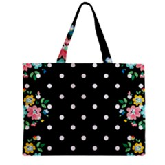 Flower Frame Floral Polkadot White Black Zipper Mini Tote Bag
