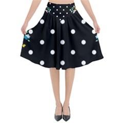 Flower Frame Floral Polkadot White Black Flared Midi Skirt