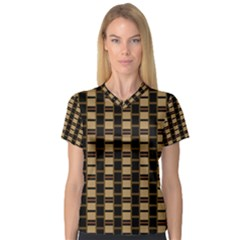 Geometric Shapes Plaid Line Women s V-Neck Sport Mesh Tee
