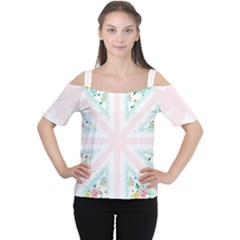 Frame Flower Floral Sunflower Line Women s Cutout Shoulder Tee