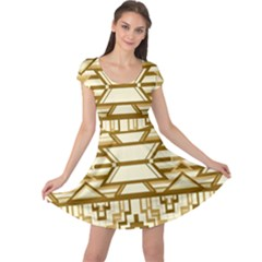 Geometric Seamless Aztec Gold Cap Sleeve Dresses