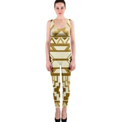 Geometric Seamless Aztec Gold OnePiece Catsuit