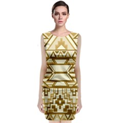 Geometric Seamless Aztec Gold Classic Sleeveless Midi Dress