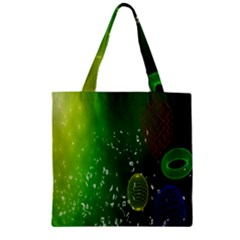 Geometric Shapes Letters Cubes Green Blue Zipper Grocery Tote Bag