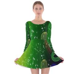 Geometric Shapes Letters Cubes Green Blue Long Sleeve Velvet Skater Dress