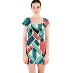 German Synth Stock Music Plaid Short Sleeve Bodycon Dress