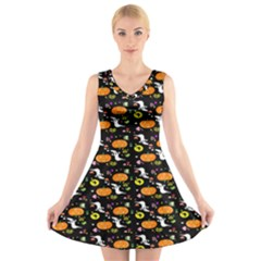 Ghost Pumkin Craft Halloween Hearts V-Neck Sleeveless Skater Dress