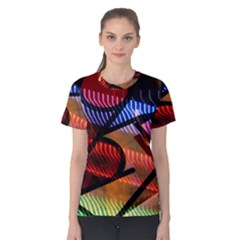 Graphic Shapes Experimental Rainbow Color Women s Cotton Tee