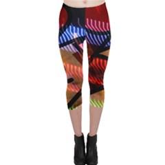 Graphic Shapes Experimental Rainbow Color Capri Leggings