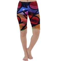 Graphic Shapes Experimental Rainbow Color Cropped Leggings