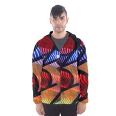 Graphic Shapes Experimental Rainbow Color Hooded Wind Breaker (Men)