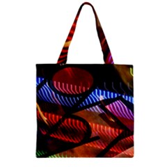 Graphic Shapes Experimental Rainbow Color Zipper Grocery Tote Bag