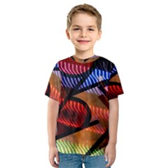 Graphic Shapes Experimental Rainbow Color Kids  Sport Mesh Tee